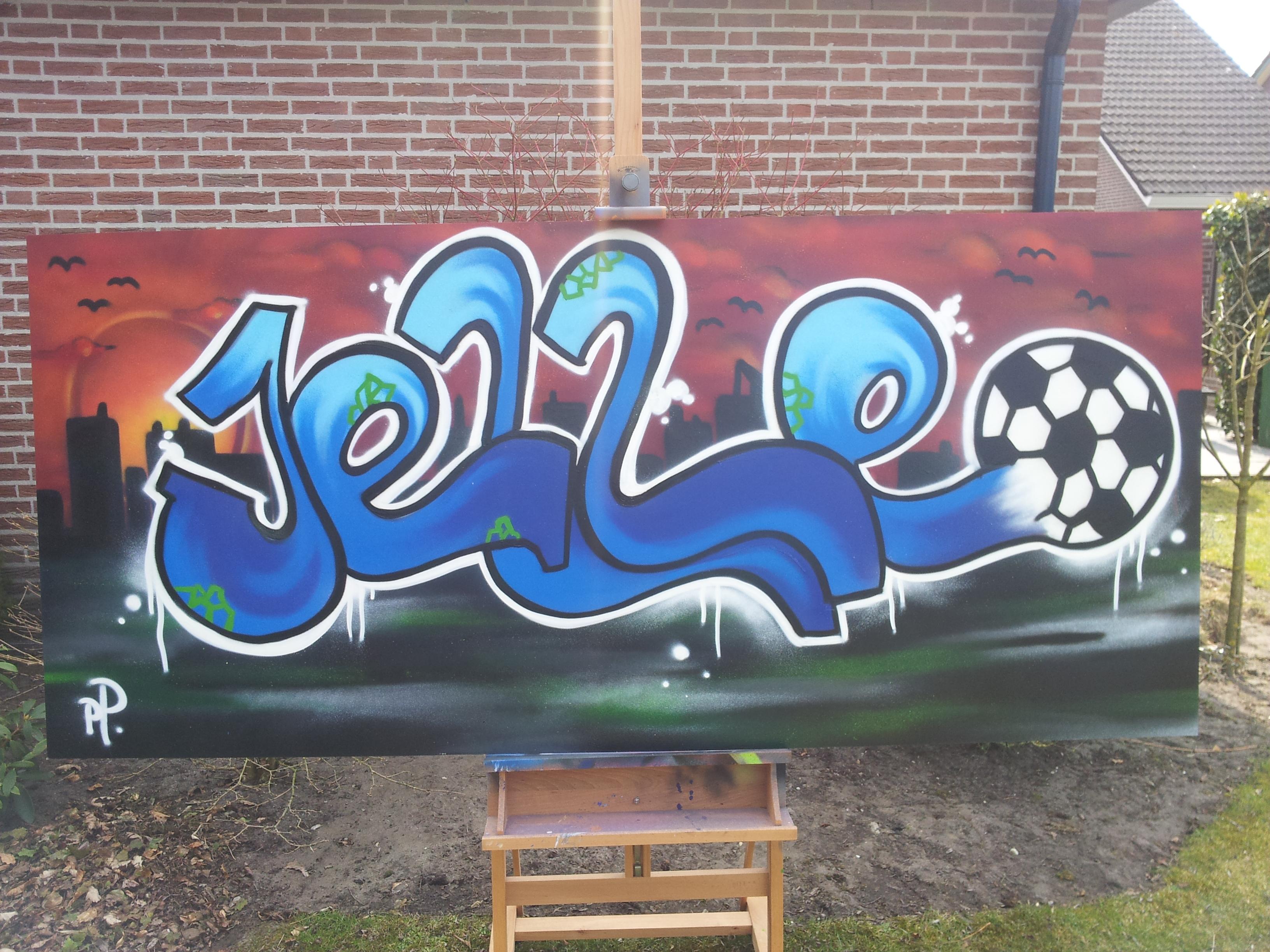 Graffiti op plaat (Jelle en Evi) | 123 Graffiti